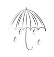 minimalist tattoo boho umbrella rain drops line vector image vector image