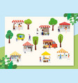 outdoor street food festival with people walking vector image vector image