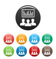 political candidate graph icons set color vector image vector image