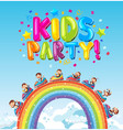 poster design with word kids party and monkey vector image