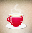 Red coffee cup on a jeans background vector image vector image
