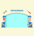 repairman service web banner flat template vector image vector image