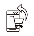 smartphone cart online shopping or payment mobile vector image