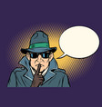 spy shhh gesture man silence secret vector image