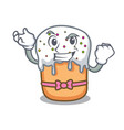 successful easter cake character cartoon vector image vector image
