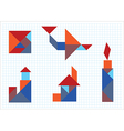Tangram House aircraft candle lighthouse vector image vector image