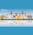 udaipur skyline with color buildings blue sky and vector image vector image