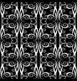 vintage swirls seamless pattern floral black and vector image