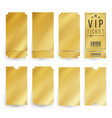vip ticket template empty golden tickets vector image vector image