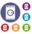 washing machine icons set vector image