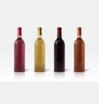 wine bottles 3d green red and yellow grape drinks vector image