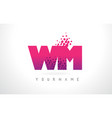 wm w m letter logo with pink purple color and vector image