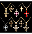 set gold and silver cross pendant vector image