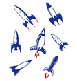 Space rockets and military missiles set vector image
