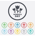 8 March Womens Day sign icon Flowers symbol vector image