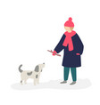 a girl playing with a dog girl teenager in a vector image vector image