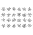 abstract flower simple black line icons set vector image