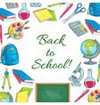back to school poster of school supplies sketches vector image
