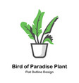 bird of paradise plant outline flat vector image vector image