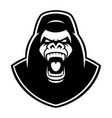 black and white emblem a gorilla on white vector image