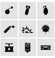 black bomb icon set vector image vector image