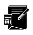 calculation process black icon concept vector image vector image