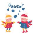 cartoon doodle girls in winter vector image