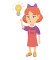 caucasian little girl pointing at the lightbulb vector image vector image