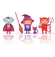 children in halloween costumes of witch vampire vector image vector image