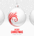 Christmas White baubles with red decor vector image vector image