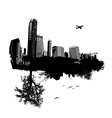 City combined with nature vector image
