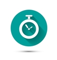 Clock icon on green background with long shadow vector image vector image