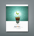 Cover annual report green seedlings light bulb vector image vector image