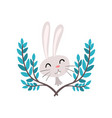 cute white easter bunny and green spring twigs vector image vector image