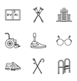 Disabled people icons set outline style vector image vector image