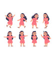 girl expressions cartoon kid with different types vector image vector image