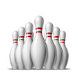 group ten bowling pins skittles with red vector image vector image