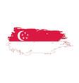 grunge brush stroke with singapore national flag vector image