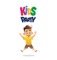happy cute boy jumping for joy kids party on vector image vector image