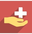 Health Care Donation Flat Square Icon with Long vector image