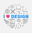 i love graphic design round line vector image vector image