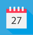 icon calendar 27 days in the flat style vector image