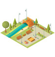 isometric landscape city park with playground vector image