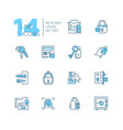 keys and locks - modern thin line design icons set vector image