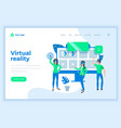 landing page template virtual reality concept with vector image vector image