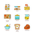 minimal lineart flat cooking iconset vector image