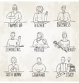 Monochrome Hand Drawn People Business and vector image vector image