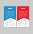 movie cinema banner template set with place for vector image vector image