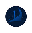 night at mosque crescent moon view design vector image vector image