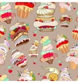 pattern with the image of the fantastic cakes vector image vector image